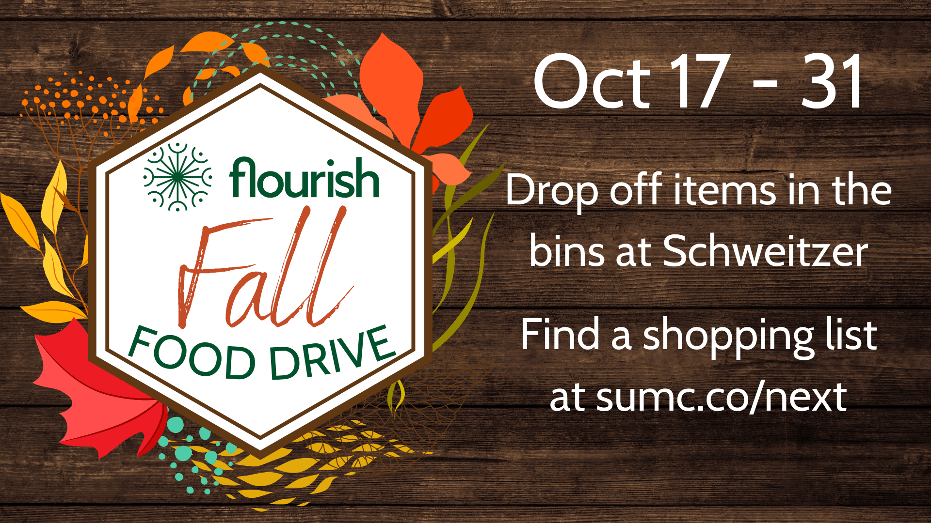 Promotional Graphic for Flourish Fall Food Drive